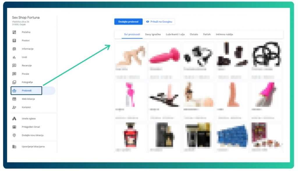 Fortuna's products on Google My Business