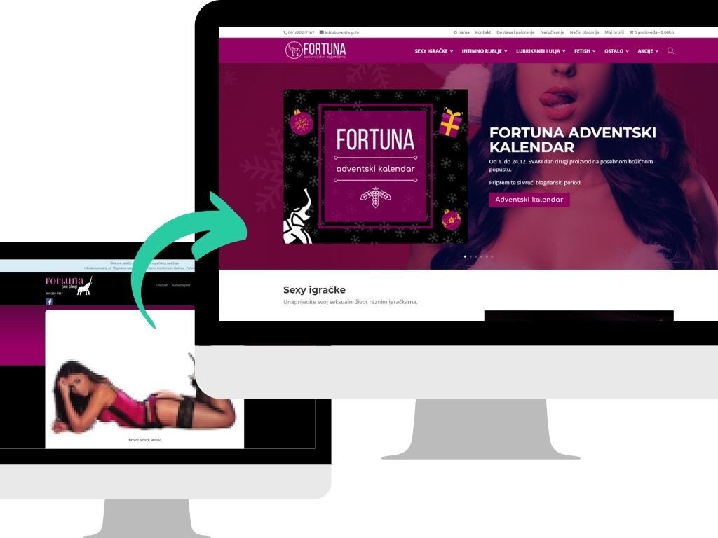 Redesign of an old adult store website